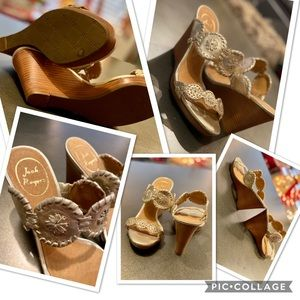 Brand New!! Jack Rogers gold toned wedges.